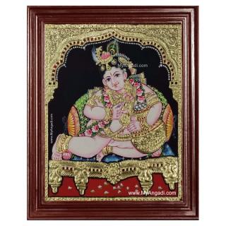 Vennai Thaazi Krishna Tanjore Painting