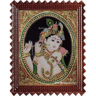 Flute Krishna Tanjore Painting