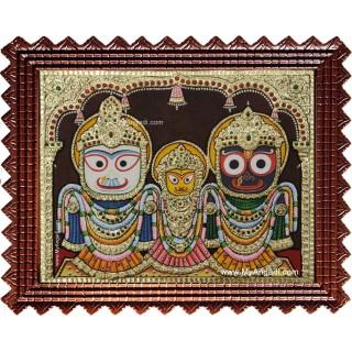 Jagannath - Krishna Balaram Subathra Tanjore Painting