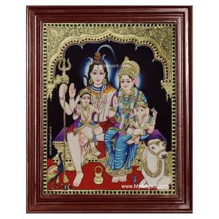 Shiva Family Paarvathi Ganesh Murugan Tanjore Painting