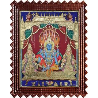Vishnu Sri Devi Bhoo Devi Tanjore Painting