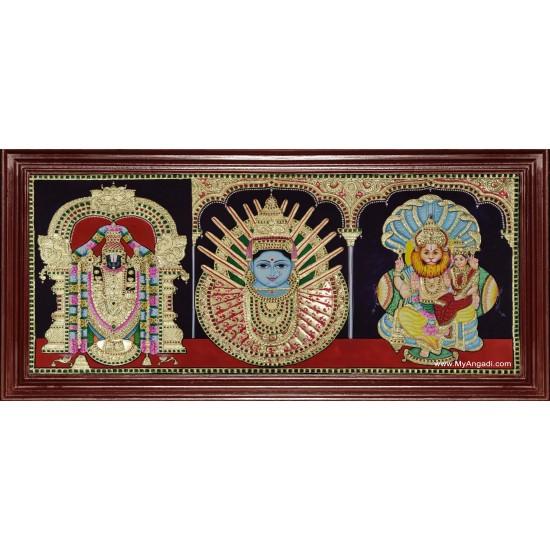 Balaji Ellama Renuka Devi Lakshmi Narasimmar Tanjore Painting