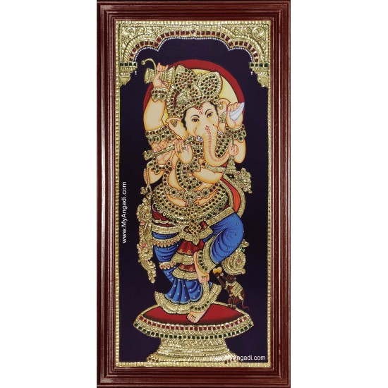 Flute Ganesha Tanjore Painting