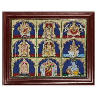 Panel Shiva Balaji Lakshm Murugan Ganesha Saraswathi Tanjore Painting