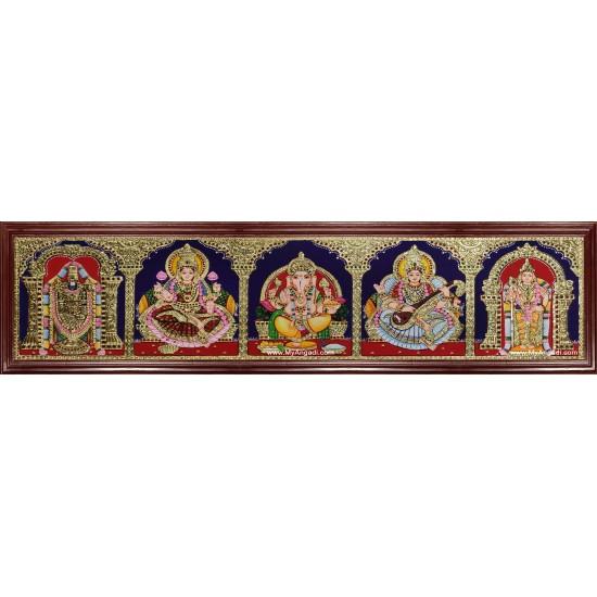 Panel Balaji Lakshmi Murugan Ganesha Saraswathi Tanjore Painting