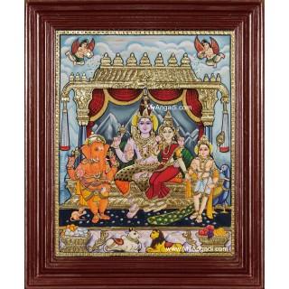 Siva Family Paarvathi Ganesh Murugan Tanjore Painting