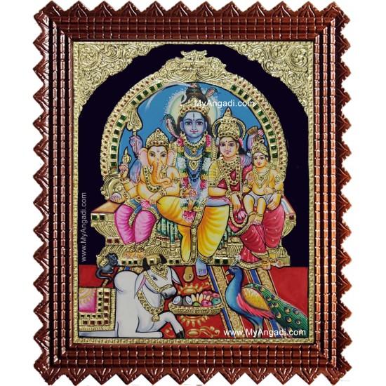 Shiva Darbar Family Paarvathi Ganesh Murugan Tanjore Painting