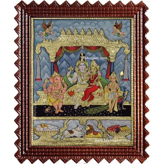 Shiva Family Shiva Sakthi Ganesh Murugan Tanjore Painting