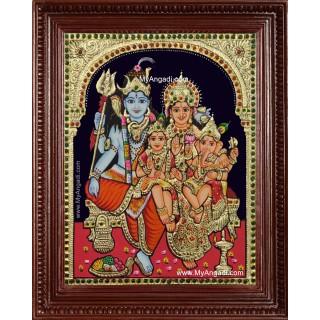 Shiva Parvati Ganesh Murugan Tanjore Painting