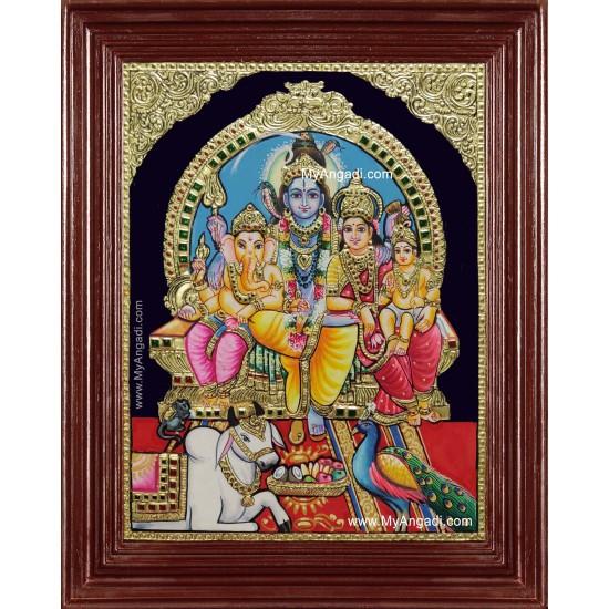 Shiva Darbar Siva Sakthi Ganesh Murugan Tanjore Painting