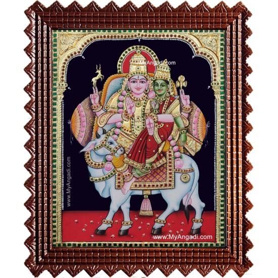 Shiva Parvati Pradosha Shivan Tanjore Painting