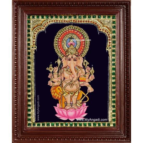 Kan Drishti Ganesha Tanjore Painting