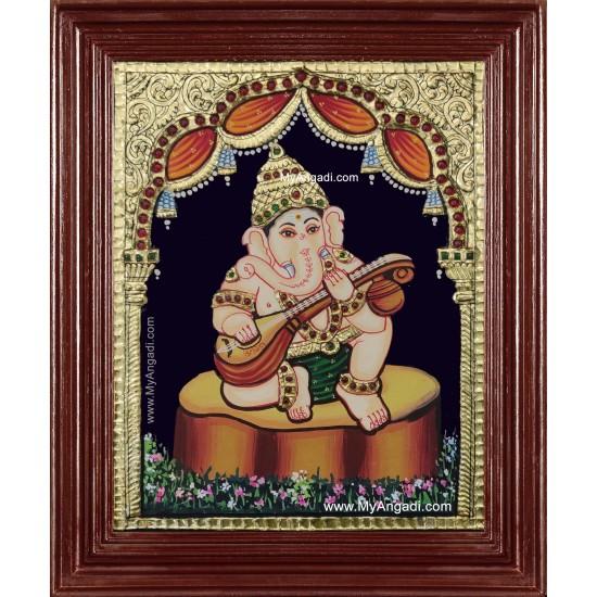 Music Ganesha Playing Veenai Tanjore Painting