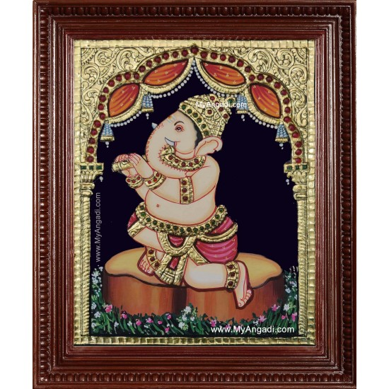 Music Ganesha Playing Flute Tanjore Painting