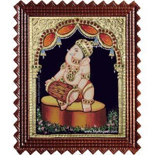 Music Ganesha Playing Mridangam Tanjore Painting