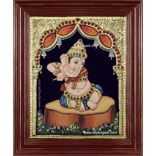 Music Ganesha Playing Veenai Tanjore Painting