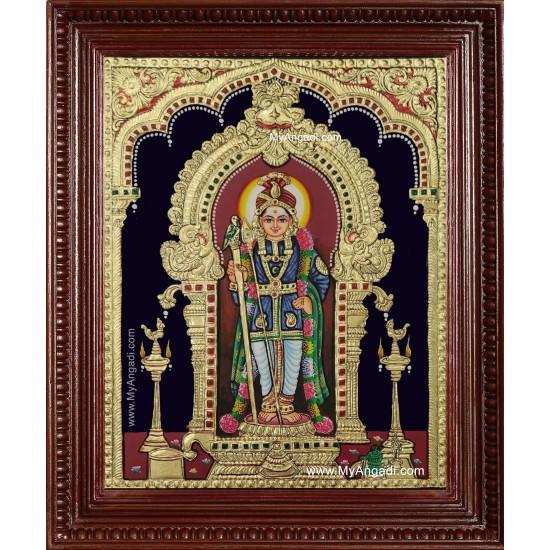 Palani Raja Alankara Murugan Tanjore Painting