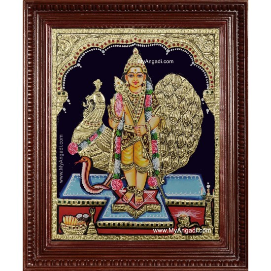 Kartikeyan Peacock Tanjore Painting