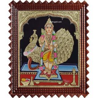 Subramanya Swami Peacock Tanjore Painting