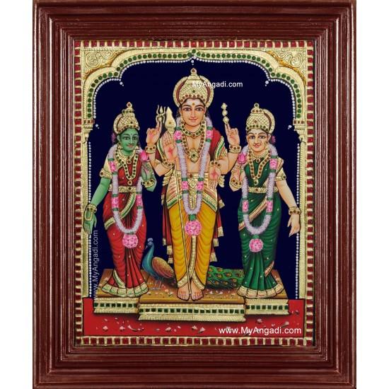 Murugan Valli Devasena Tanjore Painting