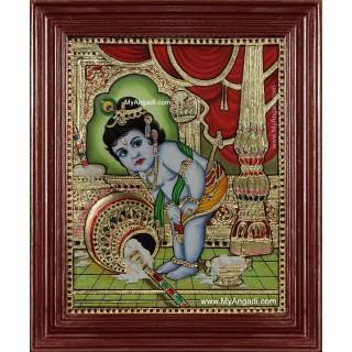 Vennai Krishna Tanjore Painting
