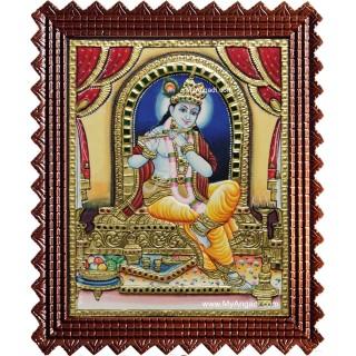 Shri Krishna Playing Flute Tanjore Painting
