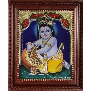 Butter Pot Krishna Tanjore Painting