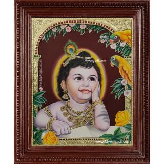 Parrot Krishna Tanjore Painting