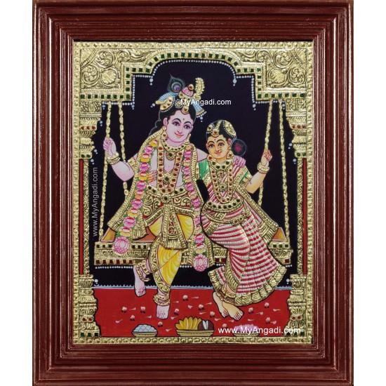 Unjal Radhe Krishna Tanjore Painting