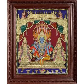 Vishnu Perumal Shri Devi Bhoo Devi Tanjore Painting