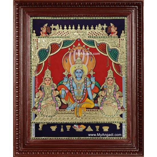 Narayanan Perumal Shri Devi Bhoo Devi Tanjore Painting