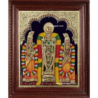 Venkateswara Perumal Sri Devi Bhu Devi Tanjore Painting