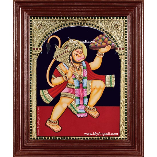 Hanuman With Sanjeevi Hills Tanjore Painting