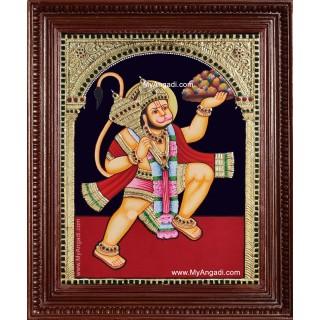 Hanuman With Sanjeevi Hills Tanjore Painting