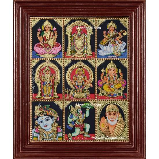Lakshmi Balaji Saraswathi Murugan Ayyapan Ganesha Krishna Hanuman Sai Baba Tanjore Painting