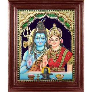 Shiva Parvathi Tanjore Painting
