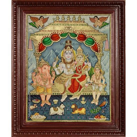 Shiva Kudumbam Tanjore Painting