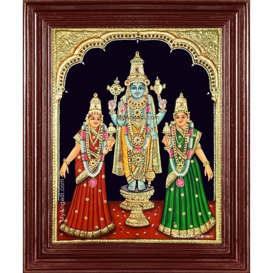 Perumal Sridevi Bhudevi Tanjore Painting