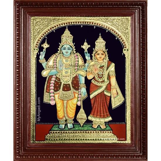 Vishnu Lakshmi Tanjore Painting