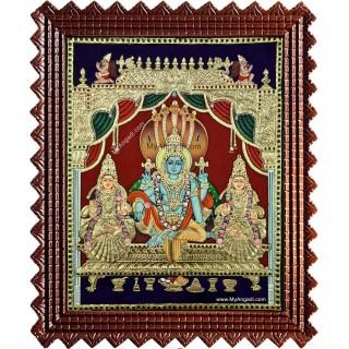 Narayanan Sri Devi Bhu Devi Tanjore Painting
