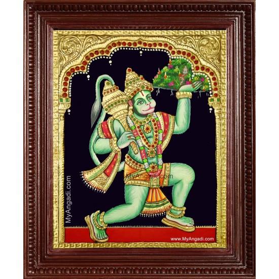 Anchaneya Sanjeevi Hills Tanjore Painting