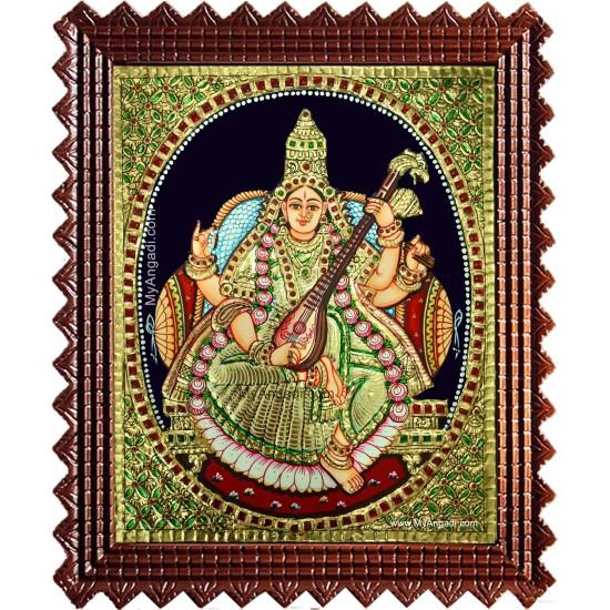 Saraswati Devi Tanjore Painting