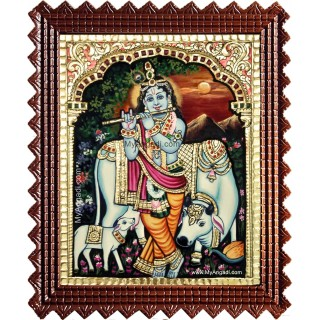 Cow Krishna With Flute Tanjore Painting