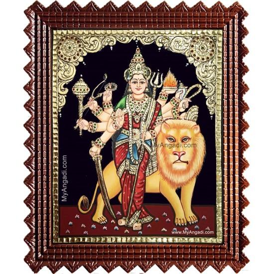 Simha Vahini Durgai Tanjore Painting