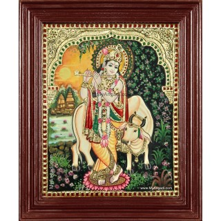 Krishna With Flute Komatha Tanjore Painting
