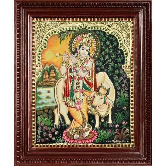 Krishna With Flute Komatha Tanjore Painting