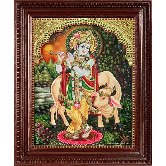 Krishna With Flute Cow Tanjore Painting