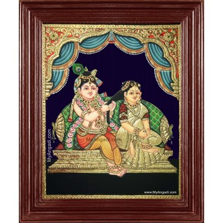Krishna Adorning Radha Tanjore Painting