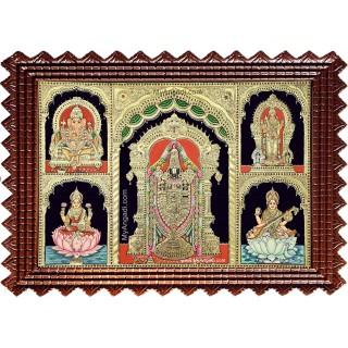 Balaji Ganesha Murugan Lakshmi Saraswathi Tanjore Painting