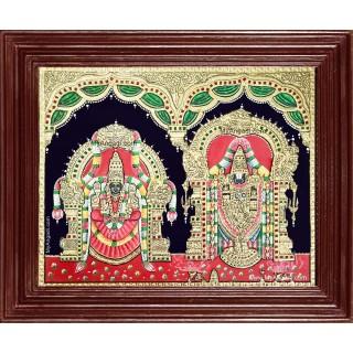 Thirupathi Balaji Alamelumanga Tanjore Painting